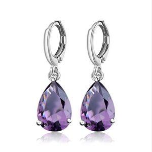 Jewelry - Genuine Amethyst Crystal Teardrop Dangle Earrings